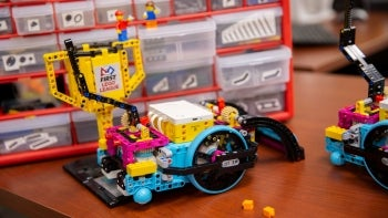 robot made out of Legos