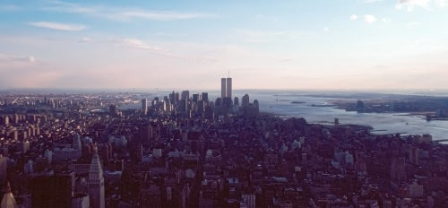The Manhattan skyline before 9/11 with the World Trade Center visible