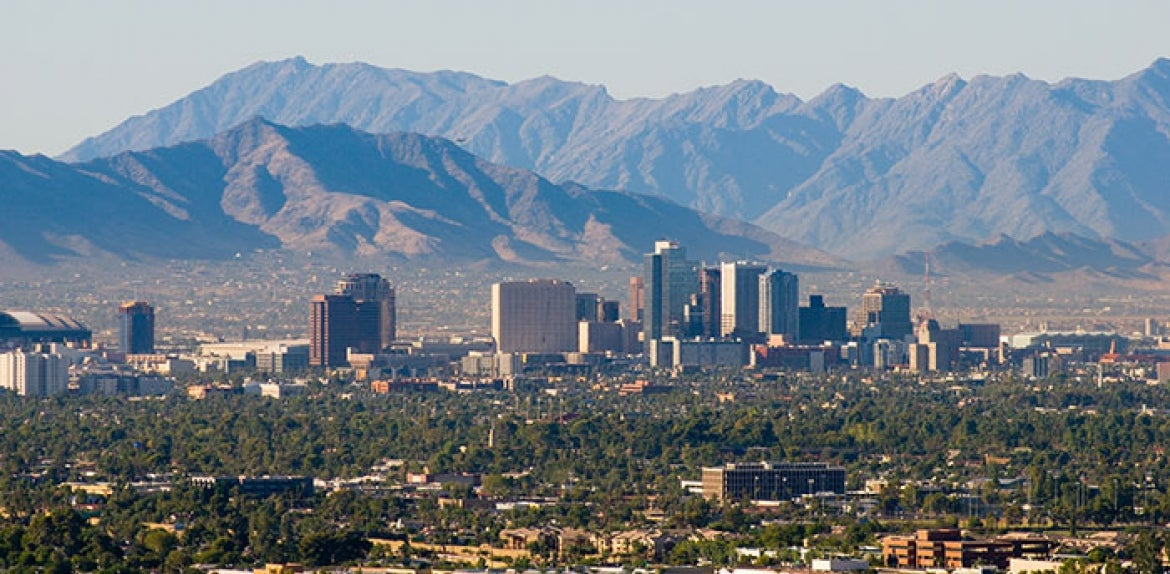 Phoenix downtown skyline with mountains in the background