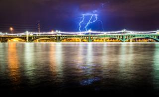 lightning and bridge
