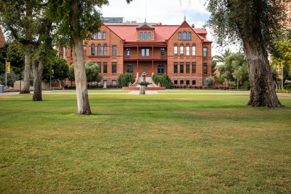 Cool spot: under trees on the Old Main lawn