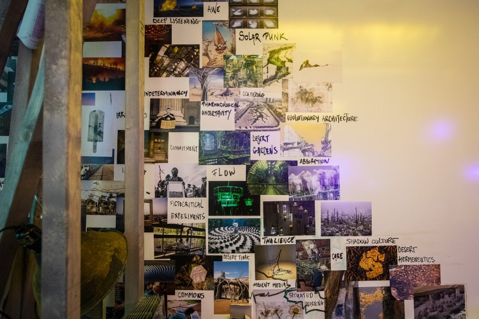 wall decorated with photos and phrases of the desert
