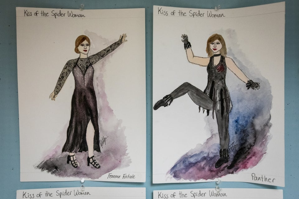 colored pencil sketch of costumes for 'Kiss of the Spider Woman'