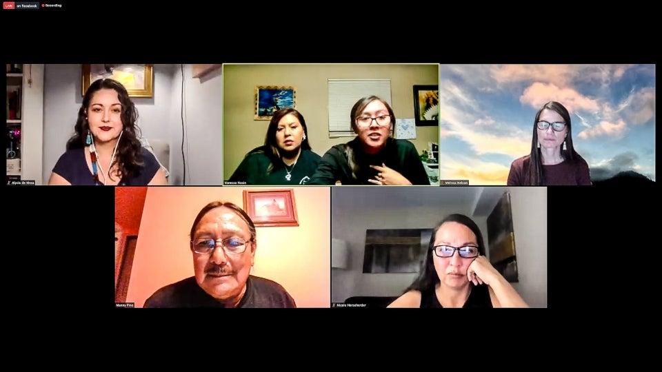 Screenshot of a virtual panel on Native environmental justice