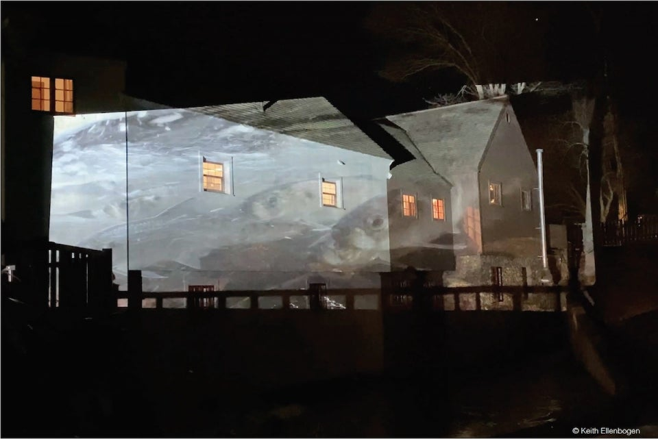 Alewives projected on historic Jenney grist mill in Plymouth Mass.