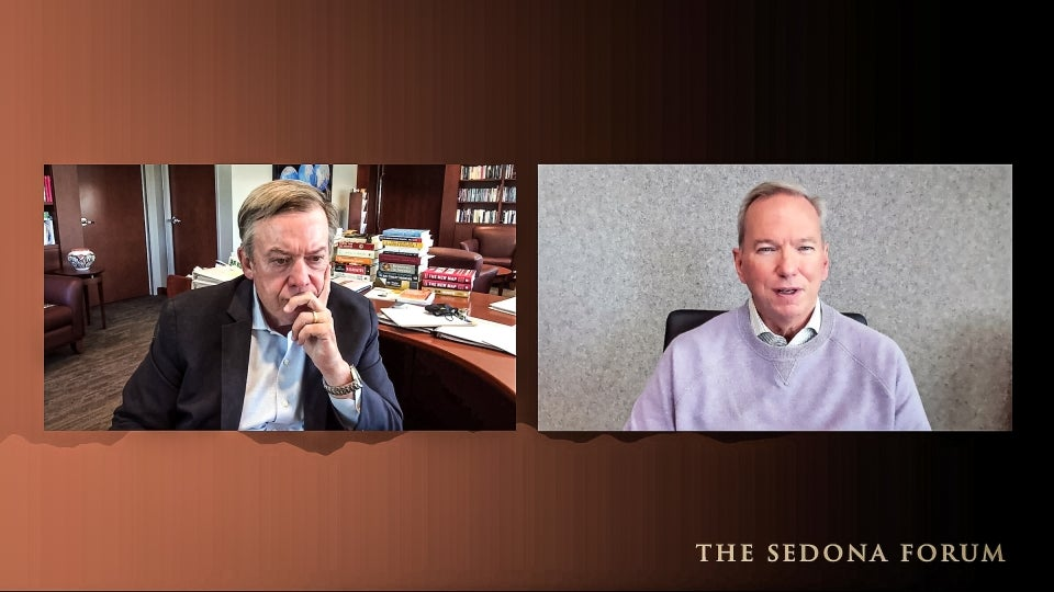 Screenshot of Zoom conversation between ASU President Michael Crow and former Google CEO Eric Schmidt