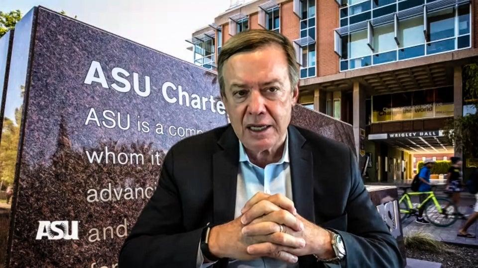 ASU President Michael Crow speaking on Zoom video