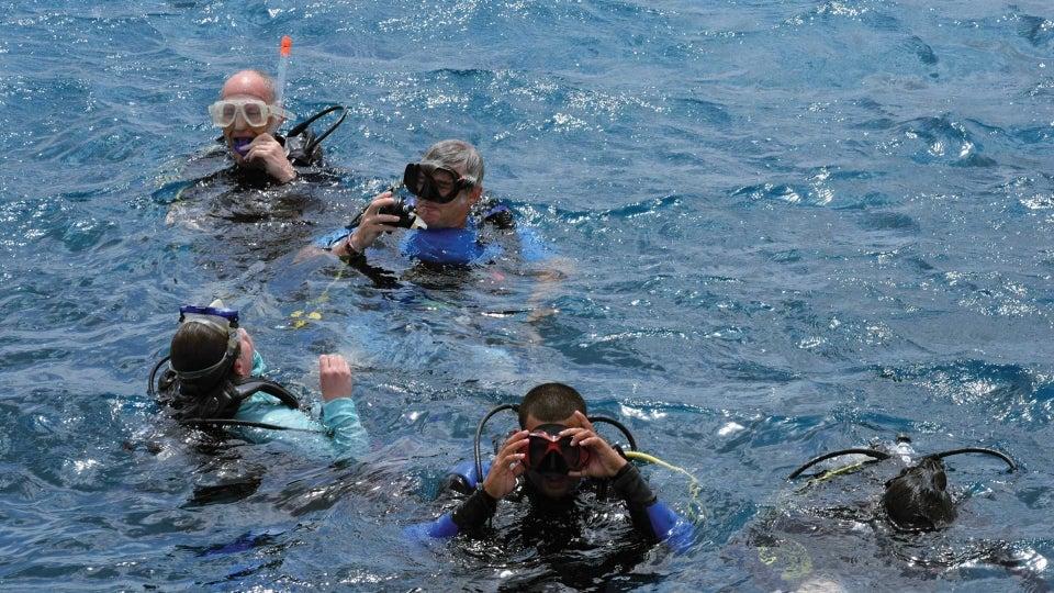 Snorkelers in the ocean off Cuba