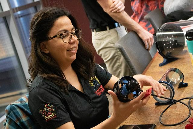 ASU Polytechnic student works with a rotor