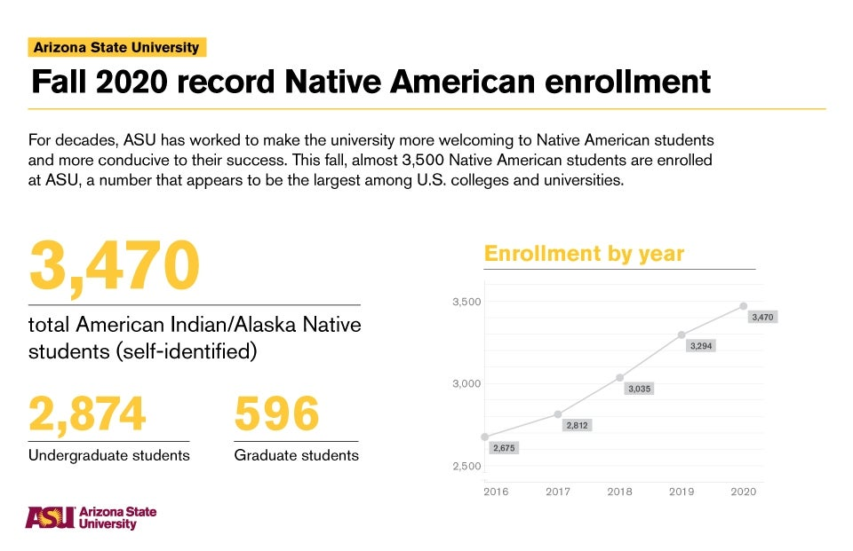 Infographic breaking down the Native American enrollment numbers at ASU