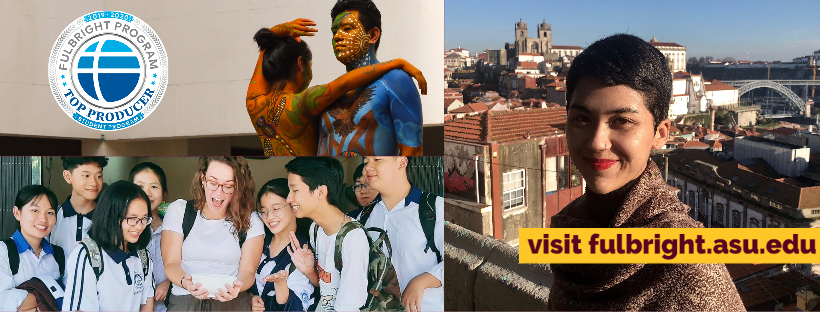 collage of photos of students participating in the Fulbright Scholarship Program