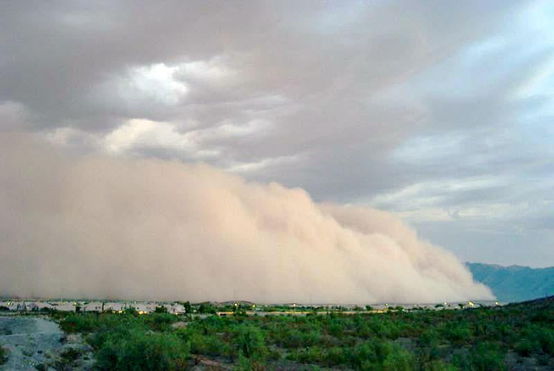 A haboob, or dust storm, blows in over Phoenix, Arizona.
