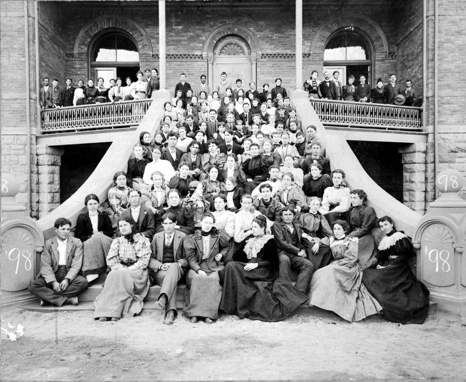 1898 photo of students on the septs of Old Main. Courtesy of ASU Library