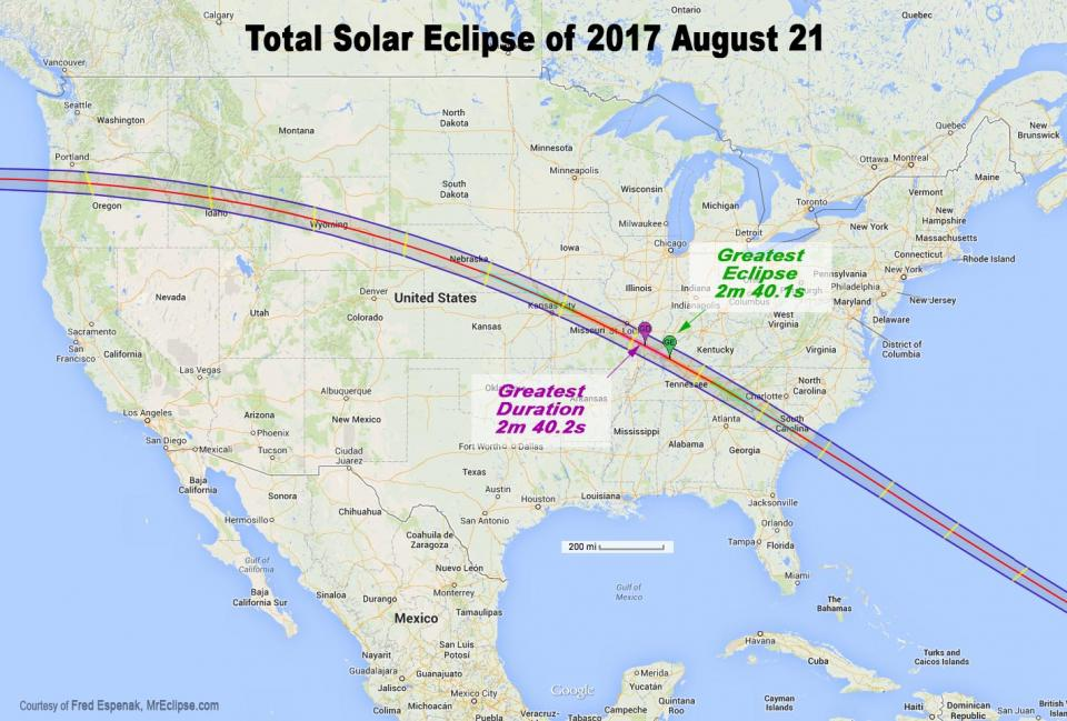 Map of the path of the total solar eclipse happening in August 2017