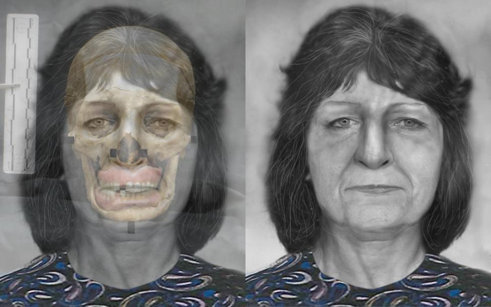A woman's face is shown in a facial reconstruction from a skull.
