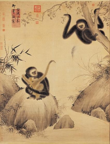 Chinese painting with gibbons