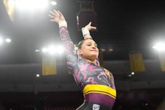 woman performing gymnastics routine