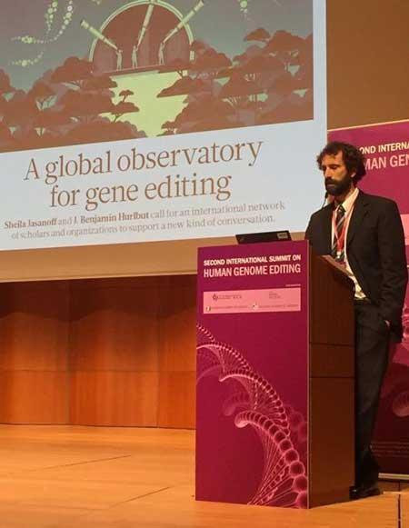 ASU bioethicists Ben Hurlbut speaks onstage at a gene editing summit