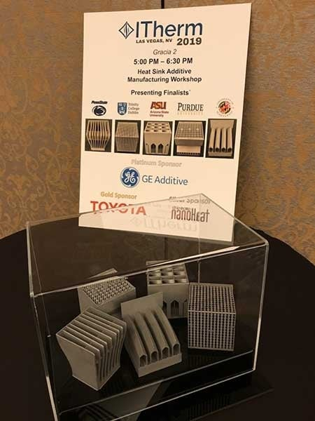 Heat sinks designed by all five finalists of the IEEE ITherm conference competition