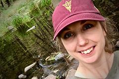 selfie of woman in an ASU cap