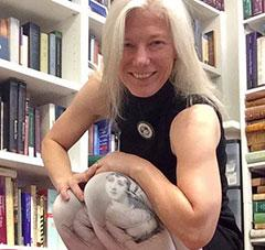 Devoney Looser showing off her Jane Austen leggings