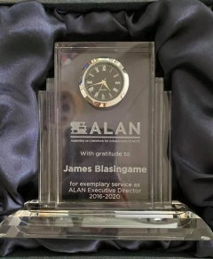 photo of James Blasingame's lifetime service award from the Assembly on Literature for Adolescents of NCTE