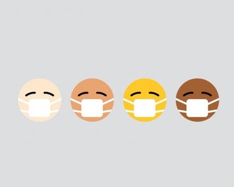 illustration of four face emojis wearing masks